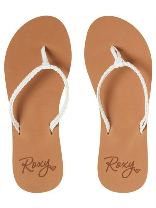 ROXY WOMENS FLIP FLOPS.NEW COSTAS WHITE STRAPPY FAUX LEATHER THONGS SANDALS S20